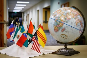 Globe and flags